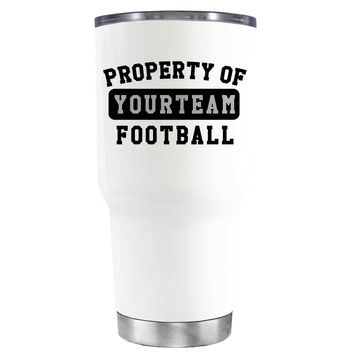 TREK Property of Football Personalized on White 30 oz Tumbler Cup