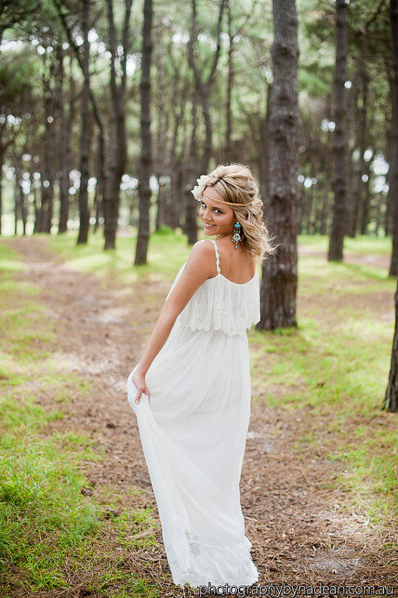 Floaty casual beach wedding dress silk from for French vintage wedding dresses