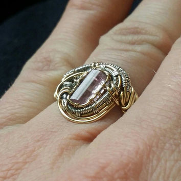 pink tourmaline crystal set in gold and sterling silver wire wrapped ring size 6
