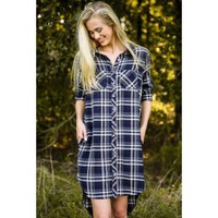 Fringe My Prerogative Navy Plaid Shirt Dress