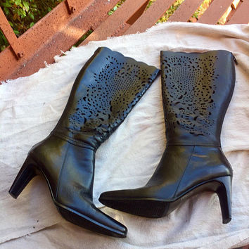 Leather Cut-Out Boots - Bellini boots - black leather boots - go go boots - 1980's vintage boots - boho boots - 7.5 - genuine leather