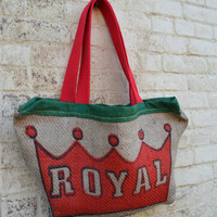 Repurposed Coffee Burlap Tote Bag - Coffee Bean Bags - Royal