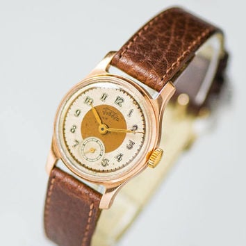 Mid century wristwatch Pobeda Victory, vintage unisex watch copper face, gold shade classic watch, tomboy watch, new premium leather strap