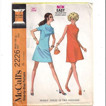 McCall's 2226 Pattern for Misses' Dress in 2 Versions, from 1969, Size 10, Vintage Pattern, Home Sewing, Back Zipper, Front Seam Detail