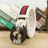 GUCCI Stylish Ladies Men Smooth Buckle Belt Stripe Leather Belt I