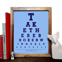The Beatles, Take These Broken Wings & Learn To Fly, Eye Chart, 8 x 10 Giclee Art Print, Buy 3 Get 1 Free