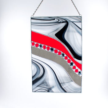 Stained Glass Modern Art- Abstract Wall Art - Modern Glass Decor- Black and Red