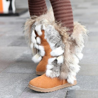 Stylish Fur Warm All Match Boots Yellow = 1931641668