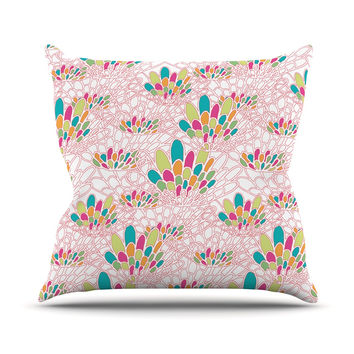 "Miranda Mol ""Blown Away"" Pink Multicolor Outdoor Throw Pillow"