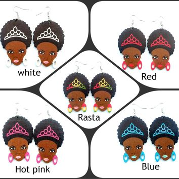 Sale.......Cute Rasta, African, Afro puff girl dangle earrings.......choose a color, ready to ship