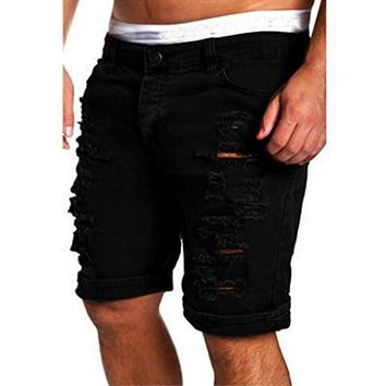 Men's Fashion Casual Jeans Gloous Destroyed Knee Length Hole Ripped Pants