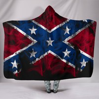 Confederate Flag Flames Hooded Blanket