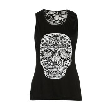 New Summer Woman Tanks Top Skull Printing Back Lace Color Vest Women Fashion Slim Short Regular Top  S-5XL Size 3 color MY15