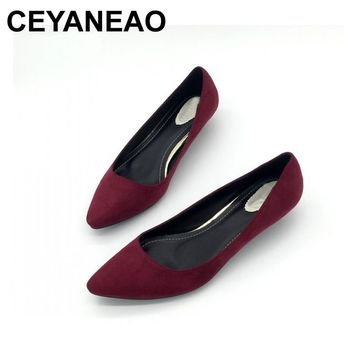 CEYANEAO Sexy Women Low Heel Pumps Spring Flock Plain Shallow Slip On Female Pumps Shoes Ladies Casual Single Shoes