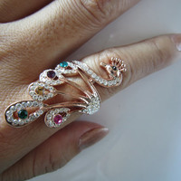 rose gold Gorgeous peacock ring, beautiful ring, colorful crystal peacock ring, the owner's favorite, recommendation,special gift for you