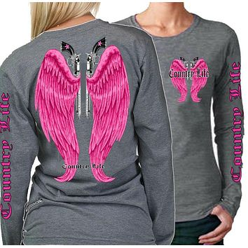 Country Life Outfitters Wings Guns Vintage Gray & Pink Long Sleeve Bright T Shirt