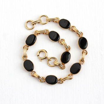 Vintage 12k Rosy Yellow Gold Filled Black Onyx Bracelet - Retro 1950s Oval Black Chalcedony Gem Panel 7 1/2 Inch Layering Dainty Jewelry
