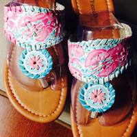 "Lilly Pulitzer Inspired Hand-Painted Jack Rogers Look-Alikes in ""Lobstah Roll"""