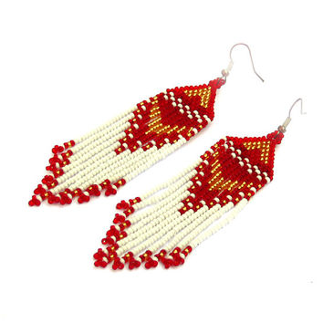 Native American Beaded Earrings Inspired. Long Earrings. White Gold Red Earrings. Beadwork