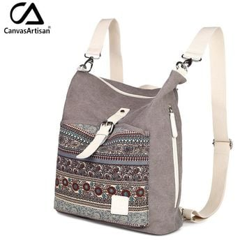 Canvasartisan top quality women canvas backpack bookbag female dual purpose shoulder bag daily travel backpacks crossbody bags