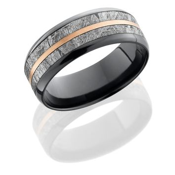 Zirconium ring 8mm hand crafted beveled wedding band with 5mm meteorite inlay and 1mm 14KR center
