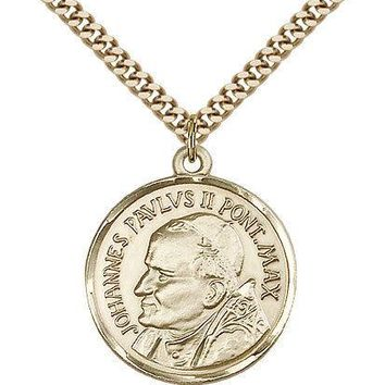 "Pope John Paul Ii Medal For Men - Gold Filled Necklace On 24"" Chain - 30 Day ... 617759248388"