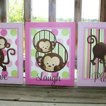 Set of 3 Pop Monkey Stretched Canvases Children's Bedroom Baby Nursery CANVAS Bedroom Wall Art 3CS008