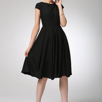 little black dress - fit and flared linen dress made of soft linen (1263)