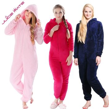 Winter Warm Pyjamas Women Plus Size Sleepwear Female Fluffy Fleece Pajamas Sets Sleep Lounge Hooded Pajamas For Women Adults