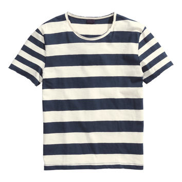 H&M - T-shirt in Slub Jersey - Black/White striped - Men