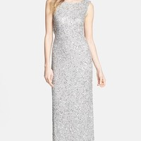 Pisarro Nights Beaded Drape Back Gown