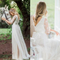 Chiffon Lace Wedding Dress Half Sleeves Spring Country Bridal Dress Gown
