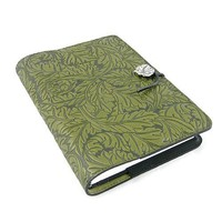 Acanthus Leaf Embossed Leather Writing Journal, 6 x 9-inch, refillable