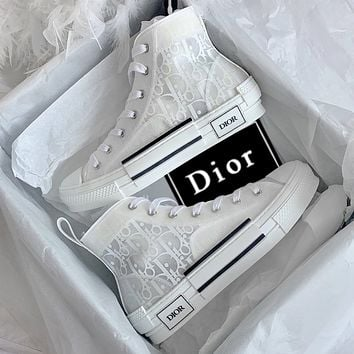 Dior Women Men Sneakers transparent plastic High Top Shoes White+White letters