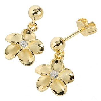 Yellow Gold Plated Sterling Silver Bead Plumeria Stud Earring 10mm