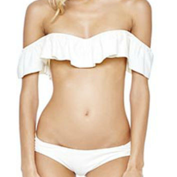 White bikini topBikini Swimsuits Womens Thong Bottom High Waisted Cute Bikini Swimwear