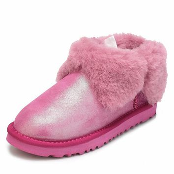 UGG Trending Women Men Winter Four-Leaf Fur Snow Boots Warm Anti-Skid Short Boots Rose Red