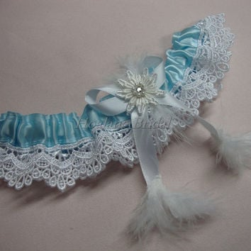 Lace garter, Wedding/Prom garter with feather