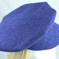 Newsboy in Irish Donegal Tweed Periwinkle | 1920s Vintage Style 8-Dart Panel Cap | Retro Flat Cap