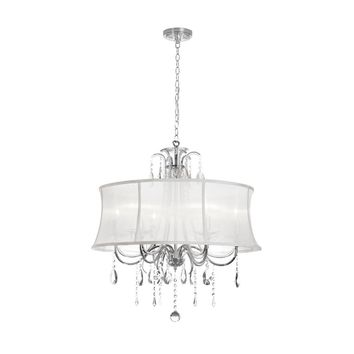 Dianolite Decorative 6 Light Crystal Chandelier, Polished Chrome, White Organza Bell Shade