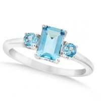 Ladies Octagon Shaped Blue Topaz Three Stone Ring Sterling Silver 1.55ct