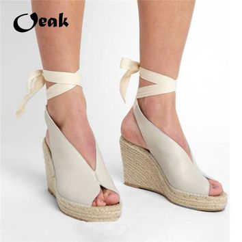 Oeak Suede Leather Women Sandals Shoes Weave Wedge Heels Peep Toe High Heels Platform Pumps Lace Up Bandage Girl Summer Sandals