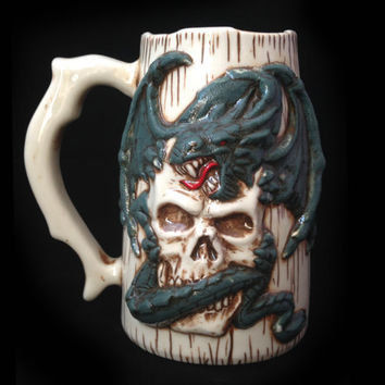 Dragon and Skull Beer Mug, Handmade, Sculpted Relief Decoration, Tableware