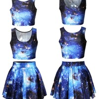 US TOP Galaxy Print Crop Tank Top/Pleated Skater Skirts Set Print Skater Dress