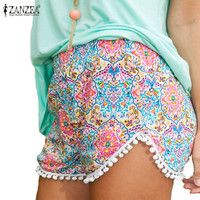 Good Quality2015 New Women Summer Style Shorts Europe High Waist Printed Beach Casual Loose Mini Short Feminino Tassel Plus Size