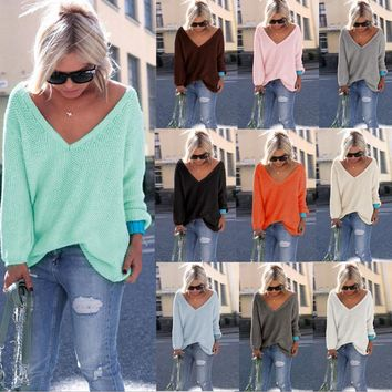 Day-First™ FREE SHIPPING Women's Tunic Sweater - Deep Vee Neckline / Long Sleeves