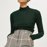 Long Sleeve Fine Funnel Neck Top | Topshop
