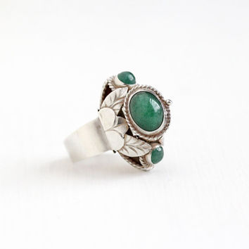 Vintage Taxco Mexican Sterling Silver Aventurine Quartz Poison Ring - Retro Adjustable Statement Green Gem Locket Secret Compartment Jewelry