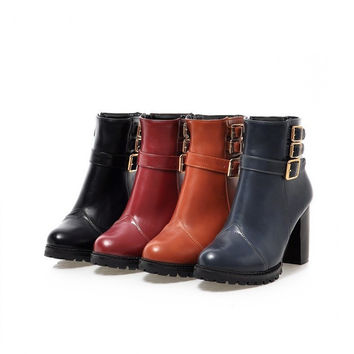 Womens Cool Tri-Strap Moto Heel Boots
