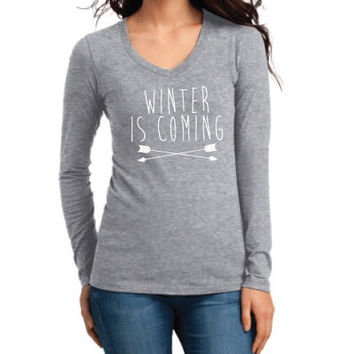 Game of Thrones Inspired Clothing - Winter is Coming Long Sleeve V-Neck - Ladies